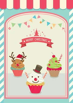 Café de cupcakes de natal