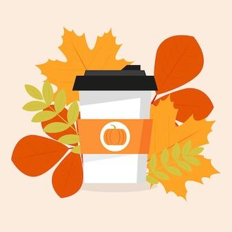 Café de outono abóbora tempero com leite xícara de café bebida de outono gráficos vetoriais