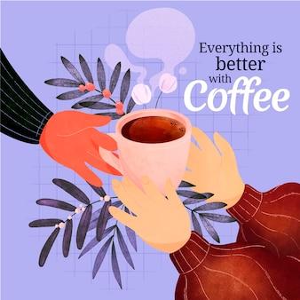 Café delicioso em caneca ilustrada