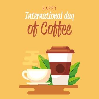 Café delicioso para ir xícara de café