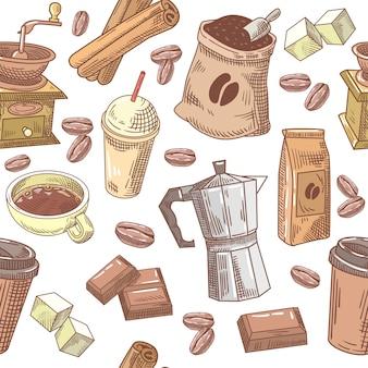 Café desenhado à mão sem costura de fundo com feijão