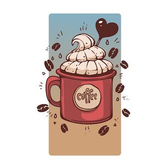 Café doce em caneca de estilo retro, ilustração desenhada à mão