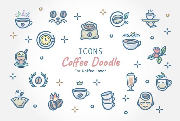 Café doodle conjunto de ícones