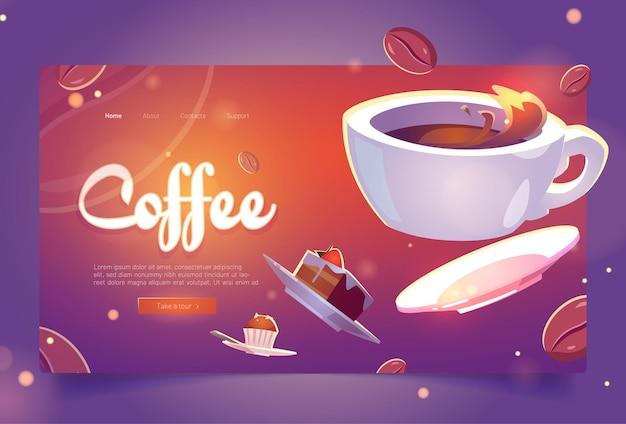 Café dos desenhos animados da página de destino copo branco de bebida quente