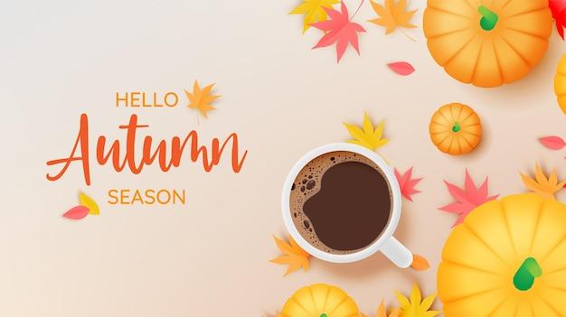 Café e abóboras com ilustração vetorial de fundo de folhas de outono