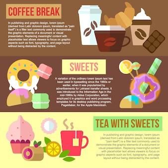 Café e bandeiras do chá coleção