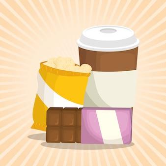 Café e barra de chocolate com saco de batatas