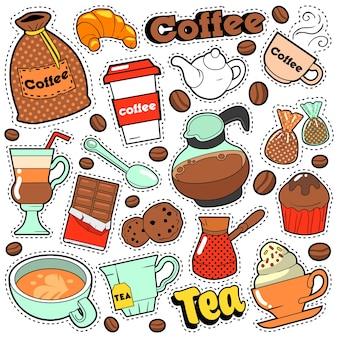 Café e chá em crachás, adesivos, adesivos para impressões e moda têxtil com grãos de café. doodle em estilo cômico