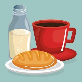 Café e leite com pão comida deliciosa café da manhã