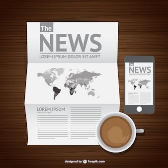 Café e notícias vetor