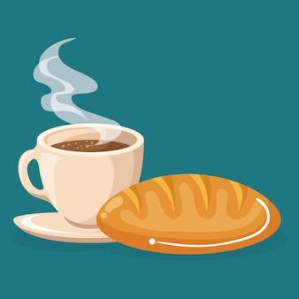 Café e pão comida deliciosa café da manhã