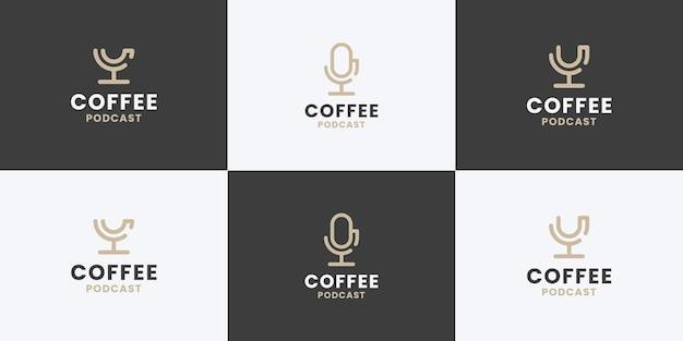 Café e podcast combinam coleção de design de logotipo