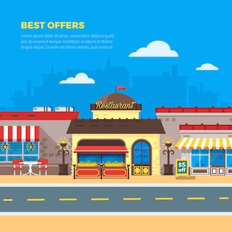 Cafe e restaurante ilustração plana