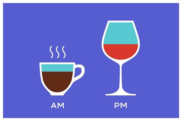 Café e vinho com símbolo de tempo diferenciado