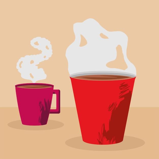 Café em canecas