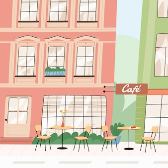 Café em cidade europeia
