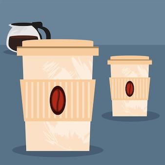 Café em descartáveis e bule
