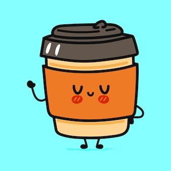 Café engraçado fofinho acenando mão personagem