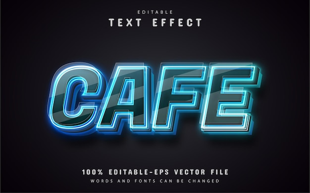 Café estilo neon de efeito de texto