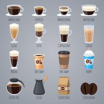 Café expresso, café com leite, cappuccino em copos e canecas. tipos de café para o menu da casa de café.