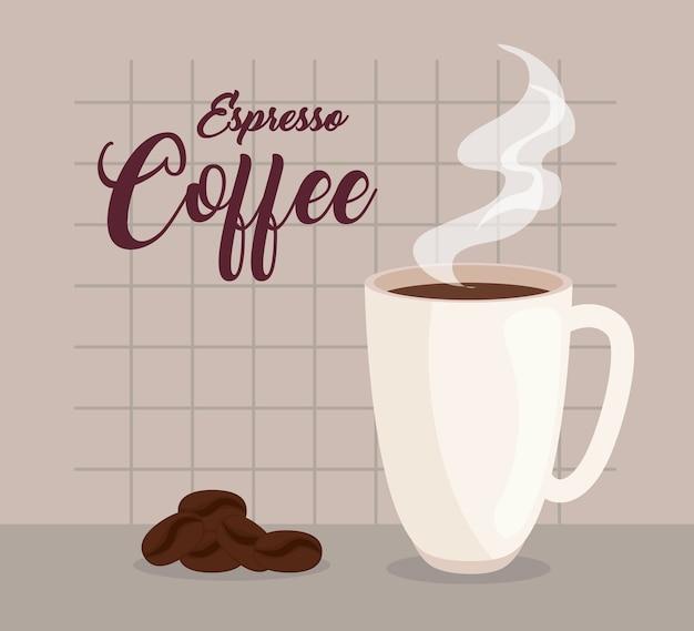Café expresso, xícara de cerâmica e grãos de café design