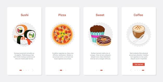 Café fast-food com pizza de sushi e sobremesas de café