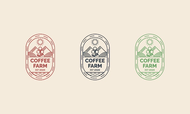 Café fazenda design de logotipo com ilustrações de estilo de arte linha conceito. adequado para distintivos, emblemas e ícones