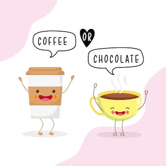 Café fofo e engraçado e xícara de chocolate sorrindo