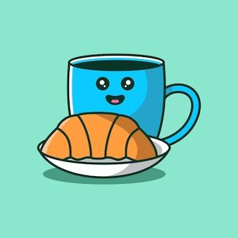 Café fofo em caneca azul com ilustração de desenho vetorial de croissant