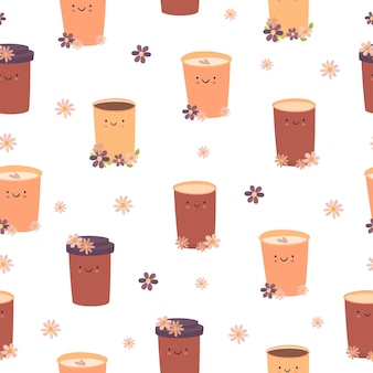 Café fofo padrão sem emenda