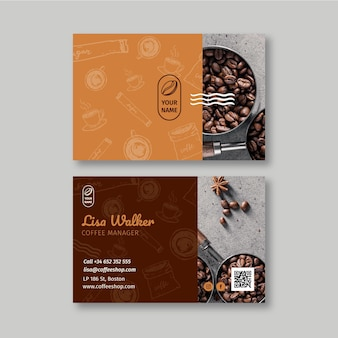 Café frente e verso cartão de visita horizontal
