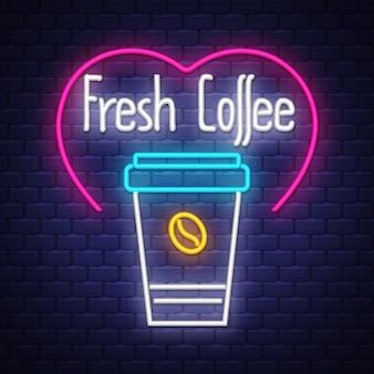 Café fresco, néon, sinal