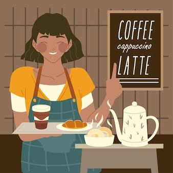 Café, garçonete segurando uma bandeja com uma xícara de café e ilustração de croissant