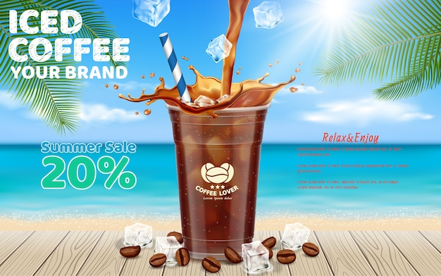 Café gelado derramando em takeaway cup