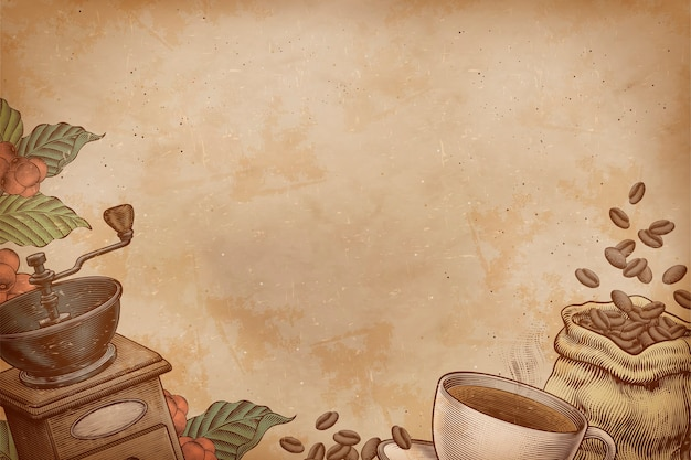 Café gravado e fundo de objetos relacionados em textura de papel kraft