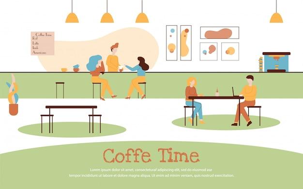 Cafe interior cartoon pessoas bebem café banner