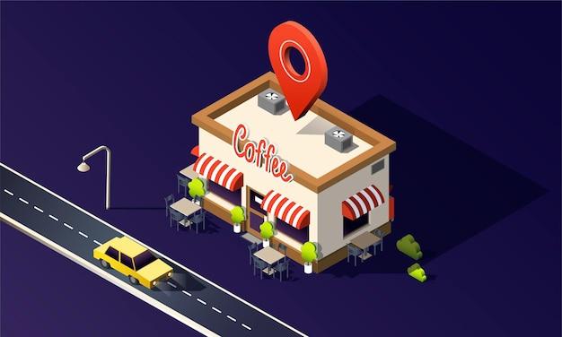 Café isométrico com carros de táxi de tráfego rodoviário e pino de localização