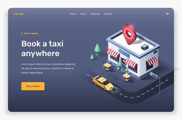 Café isométrico, estrada, táxi e pino de localização. modelo de página de destino.