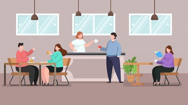 Café loja e pessoas relaxantes, ilustração em vetor plana