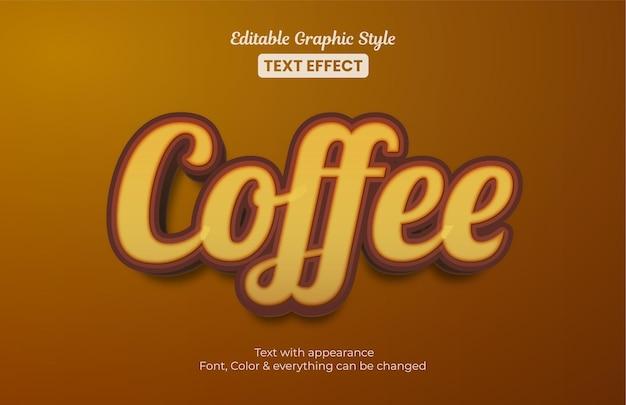 Café marrom, efeito de texto de estilo gráfico editável