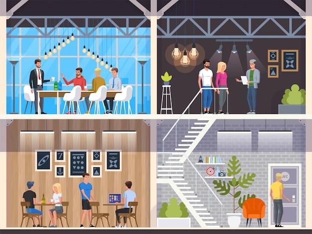 Café moderno com jovens. restaurante interior. escritório criativo coworking center. campus da universidade. local de trabalho moderno. cafeteria com balcão de bar, mesa e cadeiras. ilustração