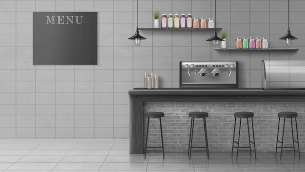 Café moderno, interior de vetor realista de cafeteria