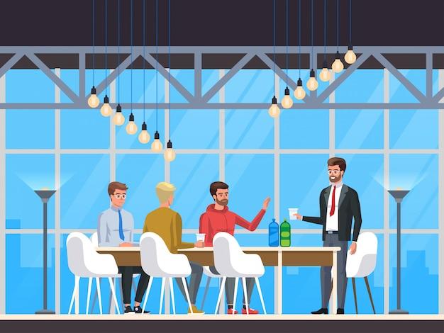 Café moderno, restaurante interior, creative office coworking center,