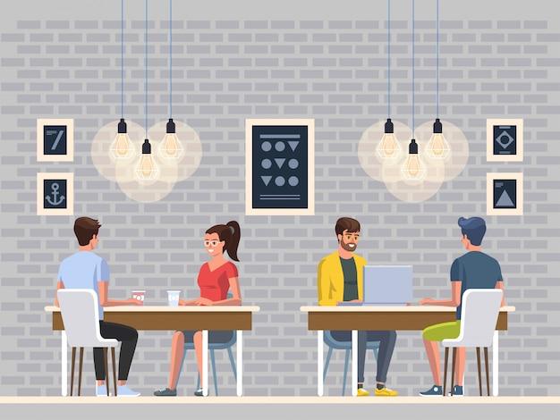 Café moderno. restaurante interior.