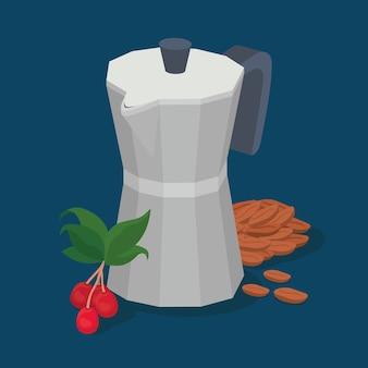 Café moka pot feijão bagas e folhas design de bebida cafeína café da manhã e tema de bebidas.