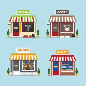 Café na vitrine, pizzaria, mercearia, livraria. conjunto de edifícios de fachada isolados. ilustração de pequena empresa em estilo simples