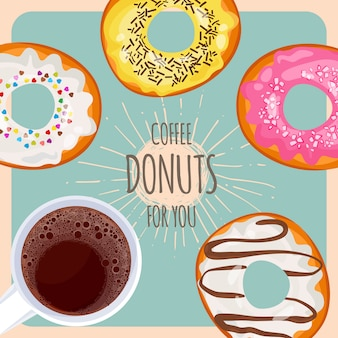 Café natural e donuts doces no esmalte com chuviscos para você poster promocional