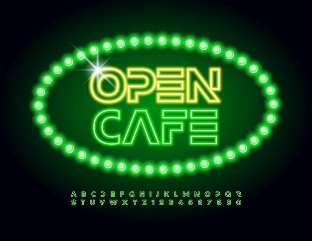 Cafe open decorativo neon font green led letras e números se