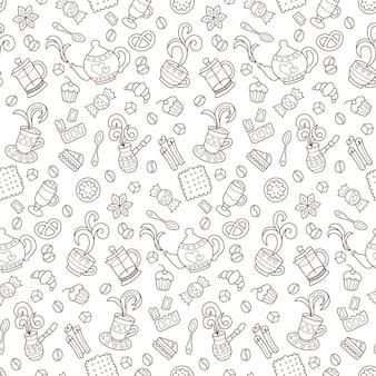 Café padrão sem emenda monocolor de desenho vetorial desenhado à mão doodle