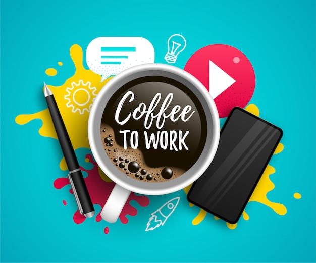 Café para trabalhar ilustração com xícara de café, smartphone, ícones de mídia social e citação. escritor, freelancer, conceito de escritório em fundo gradiente azul.